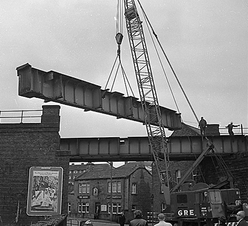 October 1970: Demolishing the railway bridge in Bridge Street, with the once popular Albion Hotel in the background